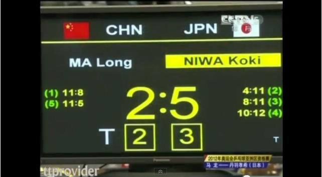 2012年 オリンピックアジア大陸予選-丹羽考希VS馬龍