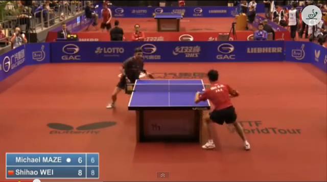German Open 2014 Highlights: Michael Maze vs Wei Shihao (Round Of 16) 卓球動画
