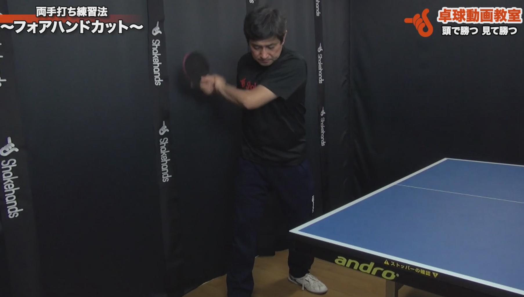 フォアハンドカットー両手打ち練習法(平岡義博)