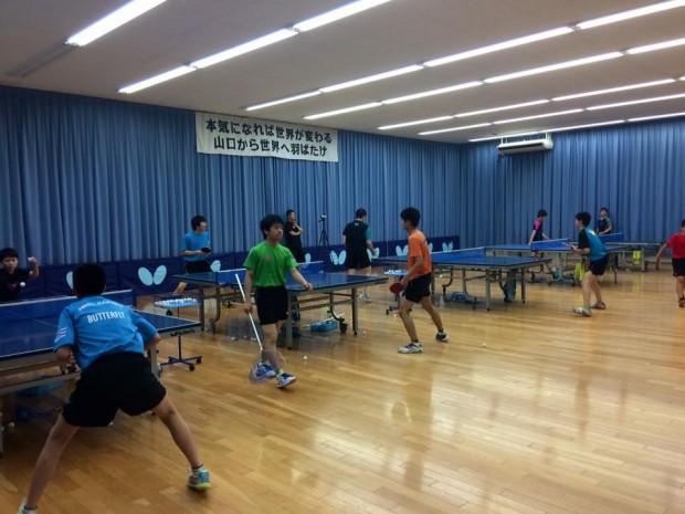 湯田温泉で卓球談義