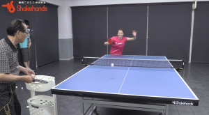 山本怜と近藤欽司の多球練習。レシーブで相手を崩す