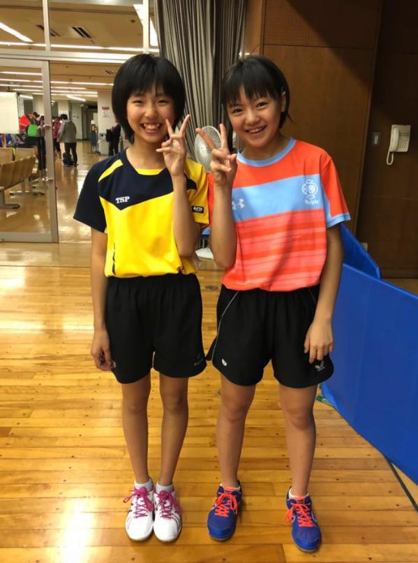 全日本卓球カデットに、林ひかると遠藤暖葉が出場