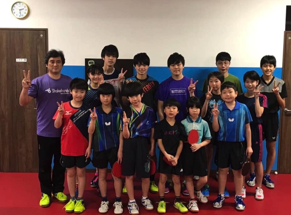 世界ジュニア準優勝、 世界卓球選考会3位宇田幸矢も練習に来てくれました