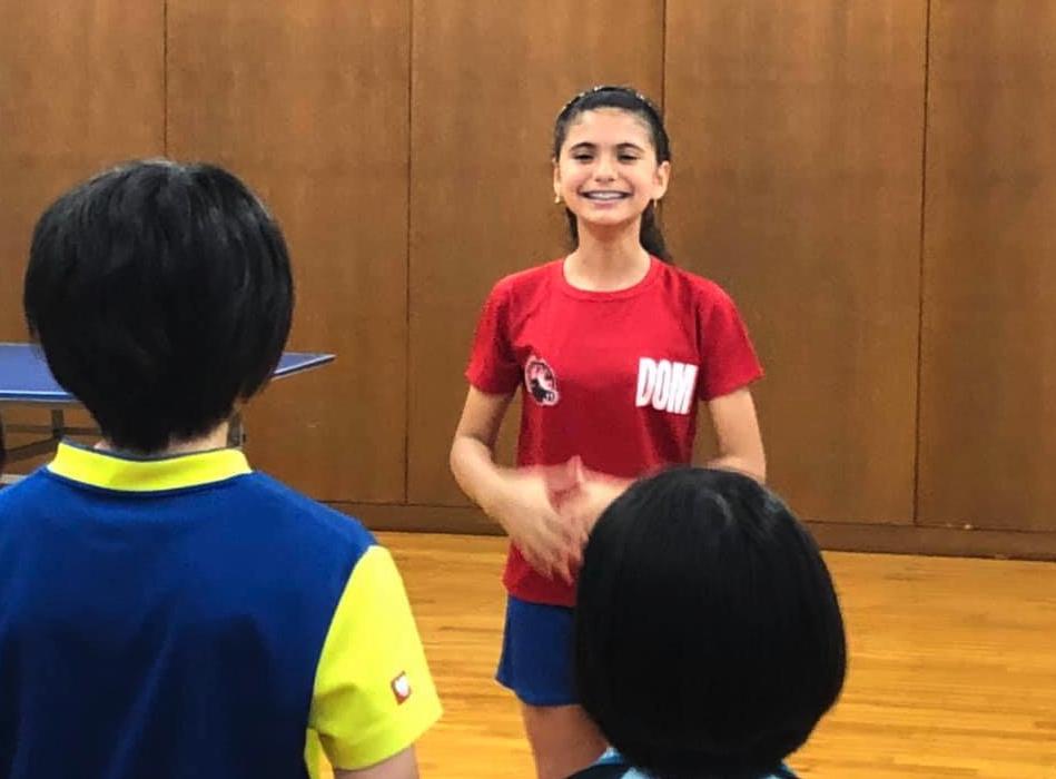 ドミニカ共和国から可愛い選手が卓球練習に参加