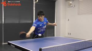 吉田雅己のストップレシーブを3球目!フリックで強打!