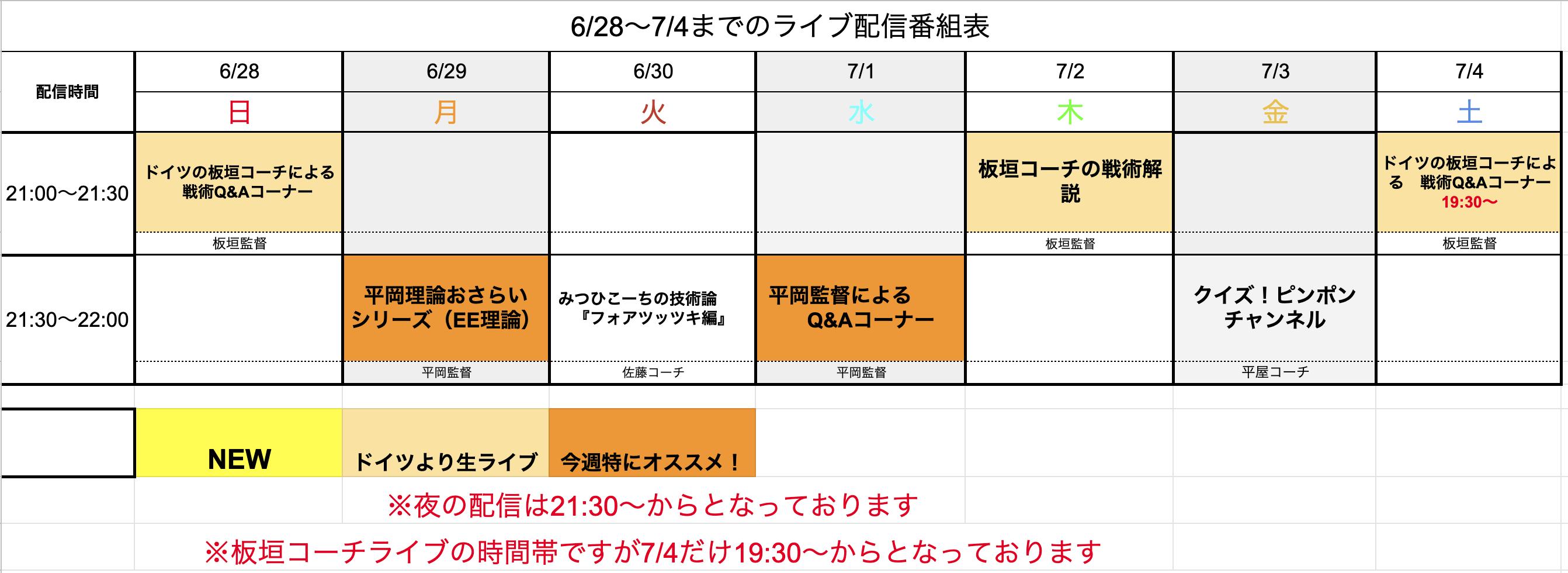 【ライブ番組表まとめ】6/28〜7/4のライブ番組表公開しました!