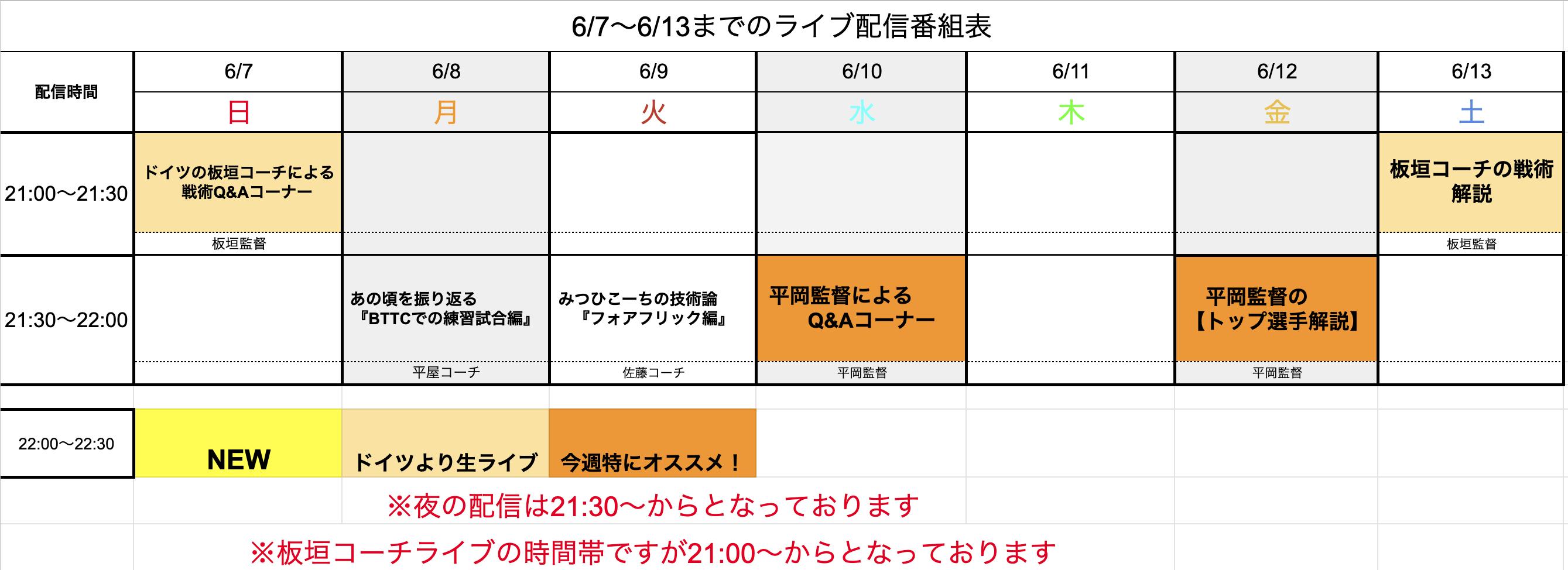 【ライブ番組表まとめ】6/7〜6/13のライブ番組表公開しました!