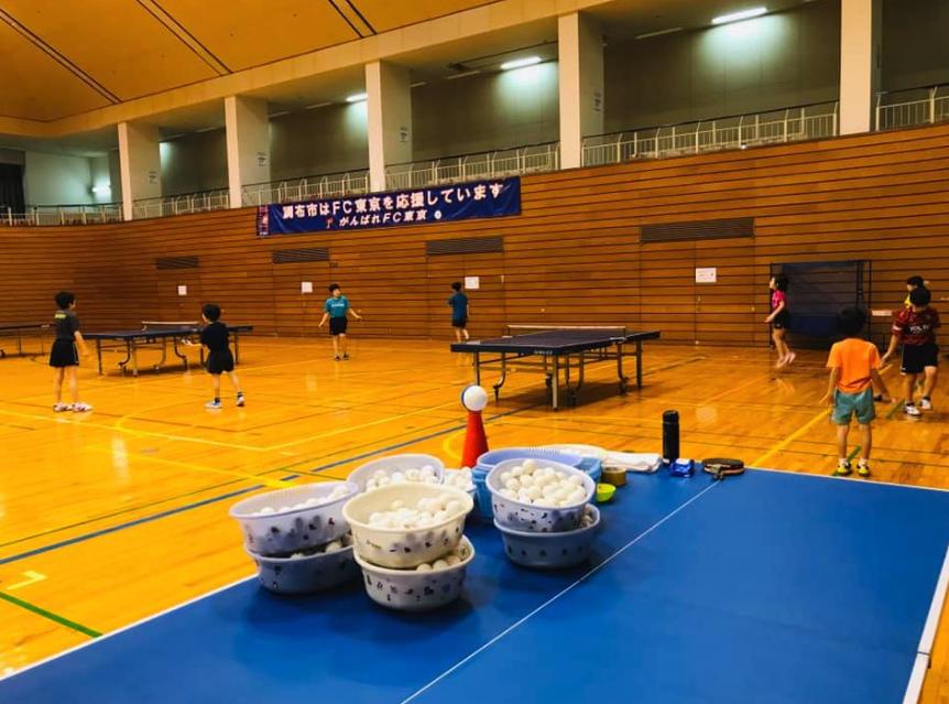 広々とした調布市総合体育館で卓球練習